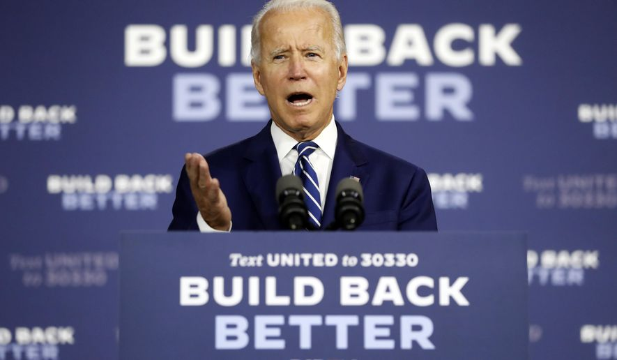 FILE - In this Tuesday, July 21, 2020, file photo, Democratic presidential candidate, former Vice President Joe Biden speaks at a campaign event at the Colonial Early Education Program at the Colwyck Training Center, in New Castle, Del. The 2020 spotlight is about to shift, at least temporarily, away from President Donald Trump and onto Biden. (AP Photo/Andrew Harnik, File)