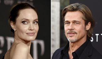 """This combination photo shows Angelina Jolie at the world premiere of """"Maleficent: Mistress of Evil"""" in Los Angeles on Sept. 30, 2019, left, and Brad Pitt at the special screening of """"Ad Astra"""" in Los Angeles on Sept. 18, 2019.  Jolie asked Monday that the private judge overseeing her divorce from Pitt be disqualified from the case because of insufficient disclosures of his business relationships with one of Pitt's attorneys. (AP Photo)"""