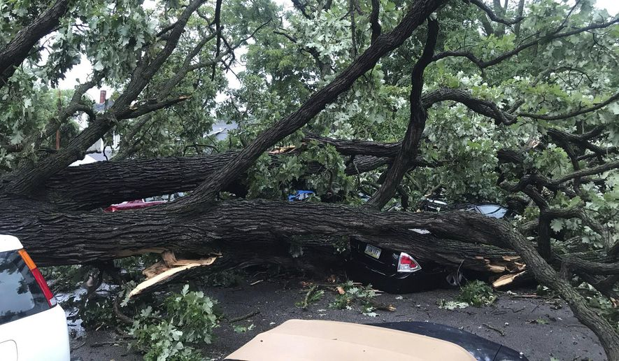 A storm with gusts more than 80 mph knocked down a tree, which crushed about four cars in Des Moines, Iowa, on Monday, Aug. 10, 2020. No one was injured. (Nick Coltrain/The Des Moines Register via AP  )