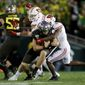 Oregon beat Wisconsin in the 2020 Rose Bowl on Jan. 1, pitting the winners of the Pac-12 and Big Ten conferences. The Pac-12 and Big Ten cancelled their respective seasons due to health risks from the coronavirus pandemic. (Associated Press)