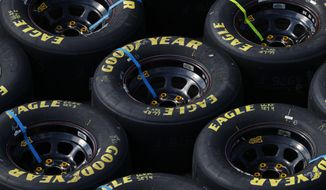 Goodyear Eagle tires are shown during a NASCAR Cup Series auto race at Michigan International Speedway in Brooklyn, Mich., Sunday, Aug. 9, 2020. (AP Photo/Paul Sancya)