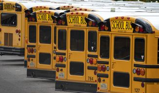 In this July 24, 2020, file photo, Fairfax County Public School buses are lined up at a maintenance facility in Lorton, Va. (AP Photo/J. Scott Applewhite) ** FILE **