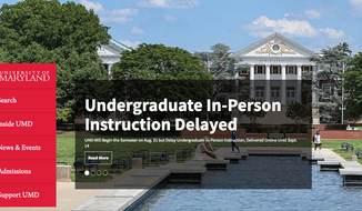 Screen capture from the University of Maryland's home page, announcing a two-week delay in the start of in-person classroom instruction.