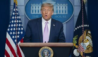 President Donald Trump speaks at a news conference in the James Brady Press Briefing Room at the White House, Tuesday, Aug. 11, 2020, in Washington. (AP Photo/Andrew Harnik)