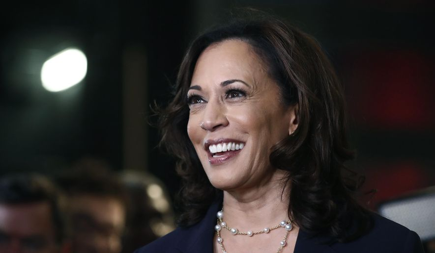 In this June 27, 2019, photo, then-Democratic presidential candidate Sen. Kamala Harris, D-Calif., listens to questions after the Democratic primary debate hosted by NBC News at the Adrienne Arsht Center for the Performing Art in Miami. (AP Photo/Brynn Anderson) **FILE**
