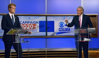 Rep. Joseph Kennedy III, left, D-Mass., and Sen. Ed Markey, D-Mass., debate Tuesday, Aug. 11, 2020, in Boston. The two are running for the Democratic nomination to U.S. Senate. (WBZ-TV via AP, Pool)