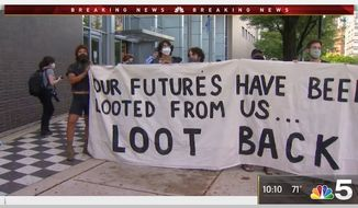 """Ariel Atkins, a Black Lives Matter Chicago organizer, said Monday that the mobs who vandalized and looted downtown businesses the night earlier did nothing wrong, calling it """"reparations"""" for Black suffering. (Screengrab via NBC Chicago)"""