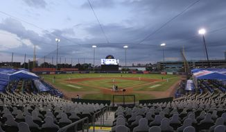 Toronto Blue Jays and the Miami Marlins play during the sixth inning of a baseball game, Tuesday, Aug. 11, 2020, in Buffalo, N.Y. (AP Photo/Jeffrey T. Barnes)