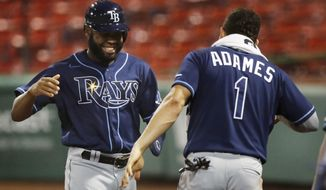Tampa Bay Rays' Manuel Margot celebrates with Willy Adames (1) after scoring on a ground-rule double by Brandon Lowe during the seventh inning of a baseball game against the Boston Red Sox, Tuesday, Aug. 11, 2020, in Boston. (AP Photo/Michael Dwyer)