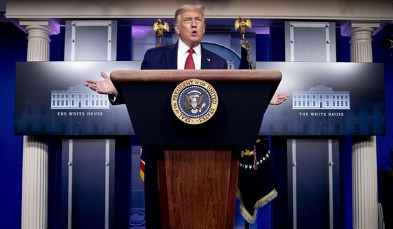 President Donald Trump speaks during a news conference in the James Brady Press Briefing Room at the White House, Monday, Aug. 10, 2020, in Washington. (AP Photo/Andrew Harnik)