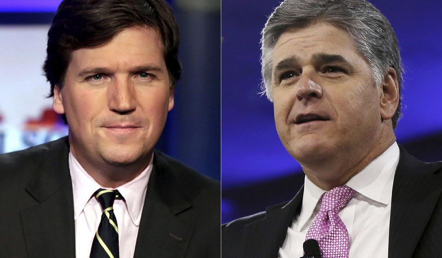 """This combination photo shows, Tucker Carlson, host of """"Tucker Carlson Tonight,""""  left, and Sean Hannity, host of """"Hannity"""" on Fox News. The Fox News and Fox Business channels are going international. A digital streaming service with the pair will launch in Mexico this month, expanding to Spain, Germany and the United Kingdom in September. (AP Photo)"""