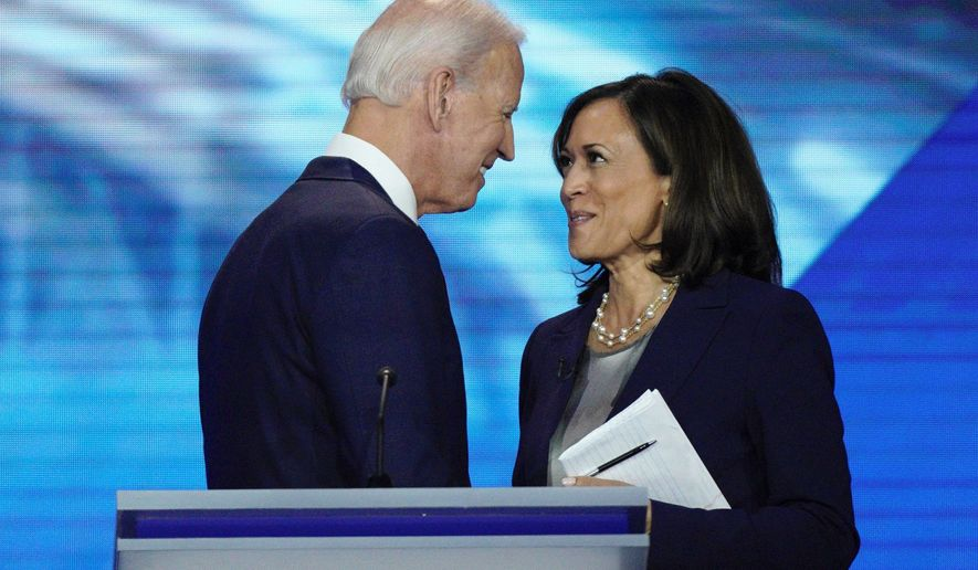 One analyst says calling the Democratic presidential ticket moderate is inaccurate because Sen. Kamala D. Harris supported progressive bills. (Associated Press)