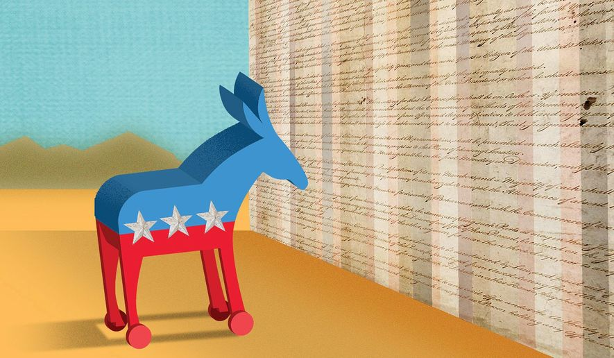 Illustration on Democrats and the Constitution by Linas Garsys/The Washington Times