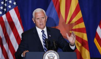 """Vice President Mike Pence speaks at the """"Latter-Day Saints for Trump"""" Coalition launch event Tuesday, Aug. 11, 2020, in Mesa, Ariz. (AP Photo/Ross D. Franklin)"""