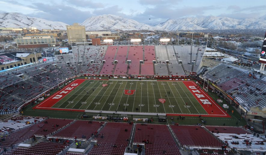 Rice-Eccles Stadium is shown before the start of an NCAA college football game between Colorado and Utah Saturday, Nov. 30, 2019, in Salt Lake City. Losing college football stings across America. While every aspect of society has been jarred by a worldwide pandemic that has claimed more than 160,000 American lives, the potential loss of college football feels like another collective punch to the national psyche. (AP Photo/Rick Bowmer, File)