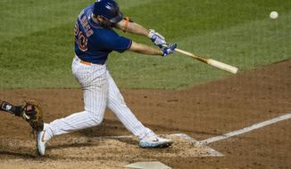 New York Mets' Pete Alonso (20) hits a two-run home run during the sixth inning of a baseball game against the Washington Nationals Wednesday, Aug. 12, 2020, in New York. (AP Photo/Frank Franklin II)