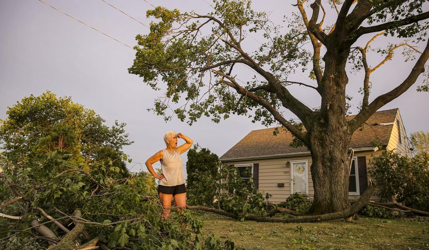Laurie Berdahl stands in her front yard beginning to clean up downed limbs around her home, Monday, Aug. 10, 2020, in Cedar Rapids, Iowa. Berdahl's home suffered only minor damage but like most of the city she was without power. (Andy Abeyta/The Gazette via AP)