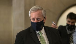 White House Chief of Staff Mark Meadows, speaks to media as he arrives at House Speaker Nancy Pelosi's office on Capitol Hill in Washington, Thursday, Aug. 6, 2020. (AP Photo/Carolyn Kaster) ** FILE **