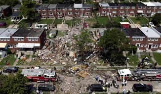 "The Baltimore Gas and Electric Company said ts equipment had been ""operating safely"" and was not to blame for the natural gas explosion. (ASSOCIATED PRESS)"