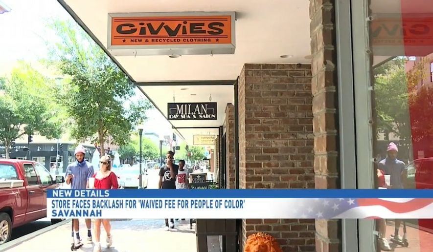 Civvies, a clothing boutique in downtown Savannah, Georgia, is facing backlash after it waived an appointment fee only for its customers of color. (screengrab via (WTGS)