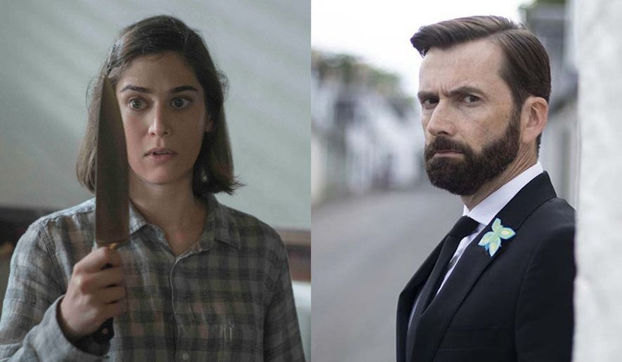 """Lizzy Kaplan as Annie Wilkes in """"Castle Rock: The Complete Second Season"""" and David Tennant as Dr. Tom Kendrick in """"Deadwater Fell,"""" both available in home entertainment formats."""