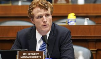 In this May 14, 2020, file photo, Rep. Joe Kennedy III, D-Mass., asks questions during a House Energy and Commerce Subcommittee on Health hearing on Capitol Hill in Washington. Mr. Kennedy received House Speaker Nancy Pelosi's endorsement on Aug. 20, 2020, in his primary challenge against Sen. Edward Markey. (Greg Nash/Pool via AP, File)