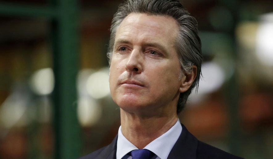 In this June 6, 2020, file photo, California Gov. Gavin Newsom listens to a reporter's question during a news conference in Rancho Cordova, Calif. The possible ascendancy of U.S. Sen. Kamala Harris to the vice presidency next year has kicked off widespread speculation in California about who might replace her if Democrats seize the White House.  At the center of the intrigue is Newsom, the person who would get to fill the vacancy if Joe Biden and Harris defeat President Donald Trump. (AP Photo/Rich Pedroncelli, Pool, File)