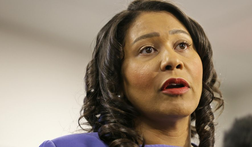 In this Aug. 2, 2019, file photo, San Francisco Mayor London Breed speaks during a news conference in San Francisco. The potential ascendancy of Sen. Kamala Harris to the vice presidency next year has kicked off widespread speculation about who might replace her if Democrats seize the White House. California Gov. Gavin Newsom is already being lobbied by hopefuls and numerous names are emerging in the early speculation. Several mayors would be possible picks, including Breed, who in Black and has ties to Harris. (AP Photo/Eric Risberg, File)