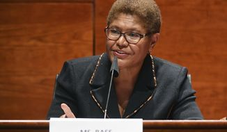 FILE - In this June 17, 2020, file photo, Rep. Karen Bass, D-Calif., speaks during a House Judiciary Committee meeting on Capitol Hill in Washington. The potential ascendancy of Sen. Kamala Harris to the vice presidency next year has kicked off widespread speculation about who might replace her if Democrats seize the White House. California Gov. Gavin Newsom is already being lobbied by hopefuls and numerous names are emerging in the early speculation. Bass, who was on Joe Biden's vice presidential short list, would likely get consideration. (Kevin Dietsch/Pool Photo via AP, File)