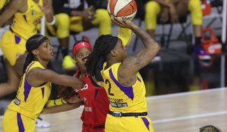 Los Angeles Sparks' Riquna Williams shoots against the Washington Mystics during the first half of a WNBA basketball game Thursday, Aug. 13, 2020, in Bradenton, Fla. (AP Photo/Mike Carlson)