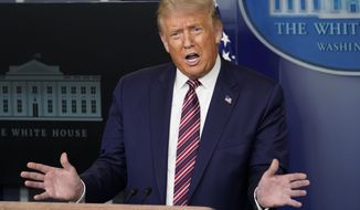 President Donald Trump speaks at a news conference in the James Brady Press Briefing Room at the White House, Wednesday, Aug. 12, 2020, in Washington. (AP Photo/Andrew Harnik)