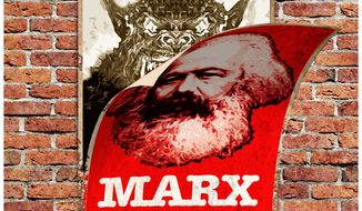 Illustration on the forces behind Marxism by Alexander Hunter/The Washington Times