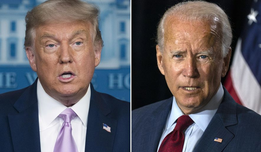 In this combination photo, President Donald Trump, left, speaks at a news conference on Aug. 11, 2020, in Washington and Democratic presidential candidate former Vice President Joe Biden speaks in Wilmington, Del. on Aug. 13, 2020. (AP Photo) ** FILE **