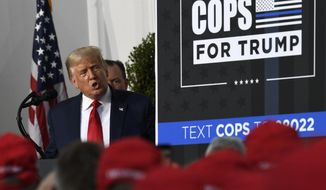 President Donald Trump speaks during an event Trump National Golf Club, Friday, Aug. 14, 2020, in Bedminster, N.J., with members of the City of New York Police Department Benevolent Association. (AP Photo/Susan Walsh)