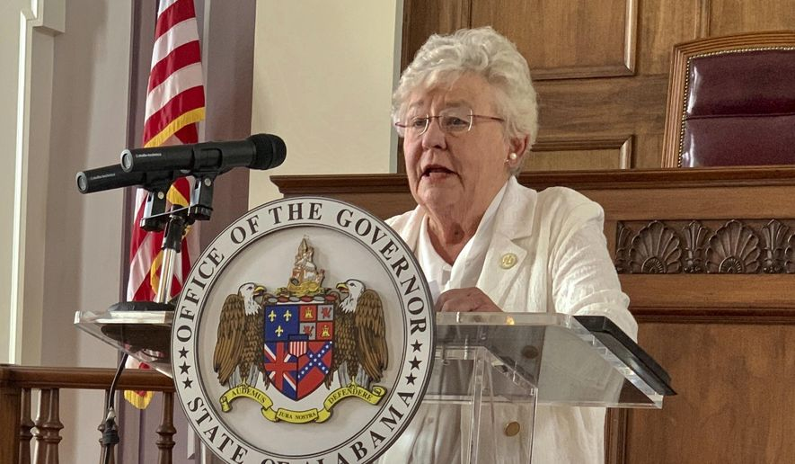 In this July 29, 2020, file photo, Alabama Gov. Kay Ivey talks to the press during a news conference in Montgomery, Ala. (AP Photo/Kim Chandler, File)