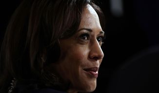 In this Sept. 12, 2019, file photo Sen. Kamala Harris, D-Calif., talks to the media in the spin room following the Democratic presidential primary debate hosted by ABC on the campus of Texas Southern University in Houston. (AP Photo/Eric Gay, File)