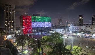 FILE - In this Thursday, Aug. 13, 2020 file photo, the Tel Aviv City Hall is lit up with the flag of the United Arab Emirates as the UAE and Israel announced they would be establishing full diplomatic ties, in Tel Aviv, Israel. On Sunday, Aug. 16, 2020, telephone service between the UAE and Israel began as the two countries opened diplomatic ties. (AP Photo/Oded Balilty, File)