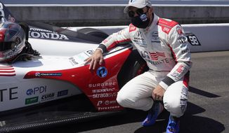 Marco Andretti is shown after winning the pole for the Indianapolis 500 auto race at Indianapolis Motor Speedway, Sunday, Aug. 16, 2020, in Indianapolis. (AP Photo/Darron Cummings)