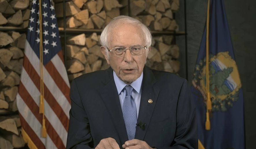 In this image from video, Sen. Bernie Sanders, I-Vt., speaks during the first night of the Democratic National Convention on Monday, Aug. 17, 2020. (Democratic National Convention via AP)