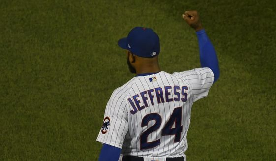 Chicago Cubs relief pitcher Jeremy Jeffress (24) pumps his fist at the end of Game 2 of a baseball doubleheader against the St. Louis Cardinals, Monday, Aug. 17, 2020, in Chicago. (AP Photo/Matt Marton)  **FILE**