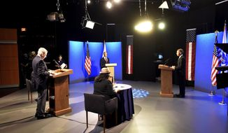 U.S. Rep. Richard E. Neal, D-Springfield, and his challenger in the Sept. 1 Democratic primary, Holyoke Mayor Alex B. Morse, meet in a debate in the New England Public Media TV studios in Springfield Monday, Aug. 17, 2020 . The debate was being organized by a consortium of media organizations, including New England Public Media, The Republican and MassLive, and The Berkshire Eagle in Pittsfield. (Don Treeger/The Republican via AP)