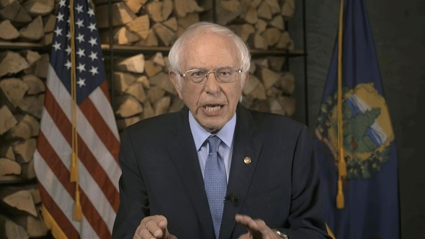 In this image from video, Sen. Bernie Sanders, I-Vt., speaks during the first night of the Democratic National Convention on Monday, Aug. 17, 2020. (Democratic National Convention via AP) ** FILE **