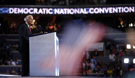 FILE - In this July 27, 2016, file photo, Vice President Joe Biden speaks during the Democratic National Convention in Philadelphia. The first national political convention of the coronavirus era has arrived. For four consecutive nights beginning Monday, Aug. 17, Democrats from across the country will gather in front of screens for the all-virtual affair that will showcase the diversity of the modern-day Democratic Party and test Biden's ability to energize his sprawling coalition. (AP Photo/Matt Rourke, File)