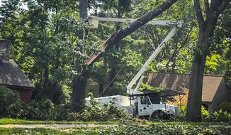 Workers clean up tree damage in Glastonbury, Conn., Friday, Aug. 7, 2020. The Connecticut National Guard joined over 1,750 utility crews in Connecticut on Friday in efforts to clear trees and restore power to more than 400,000 homes and businesses still in the dark, as frustration continued to grow over the pace of the response to Tropical Storm Isaias. (AP Photo/David Collins)