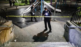 Police officers search a playground for evidence at a crime scene where two individuals were injured by gunshots on Atlantic Avenue, Saturday, July 18, 2020, in the Brooklyn borough of New York. President Donald Trump is again threatening to send federal agents to New York City if local authorities don't stop a surge of violence that has left seven people dead and more than 50 people shot since Friday, Aug. 14. (AP Photo/John Minchillo) **FILE**