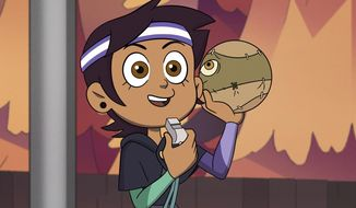 """This image released by Disney Channel shows the character Luz Noceda in a scene from the animated series """"The Owl House."""" The series created by Dana Terrace features the bisexual lead character, voiced by actor Sarah-Nicole Robles. (Disney Channel via AP)"""