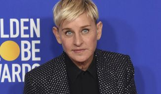 "FILE - Ellen DeGeneres, winner of the Carol Burnett award, poses in the press room at the 77th annual Golden Globe Awards on Jan. 5, 2020, in Beverly Hills, Calif. Three producers of her daytime show, ""The Ellen DeGeneres Show,"" have exited amid complaints of a difficult and unfair workplace environment. (AP Photo/Chris Pizzello, File)"