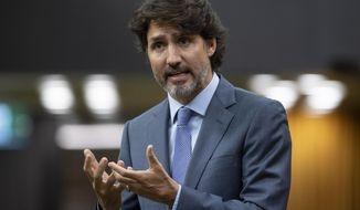 Prime Minister Justin Trudeau rises during a sitting of the Special Committee on the COVID-19 Pandemic in the House of Commons Wednesday July 22, 2020 in Ottawa. (Adrian Wyld/The Canadian Press via AP)