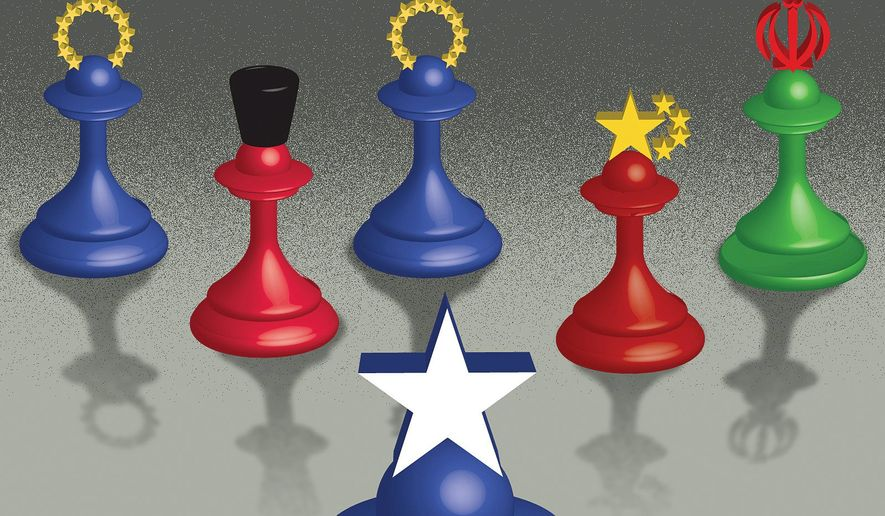 Key European allies side with Tehran, Moscow and Beijing illustration by The Washington Times