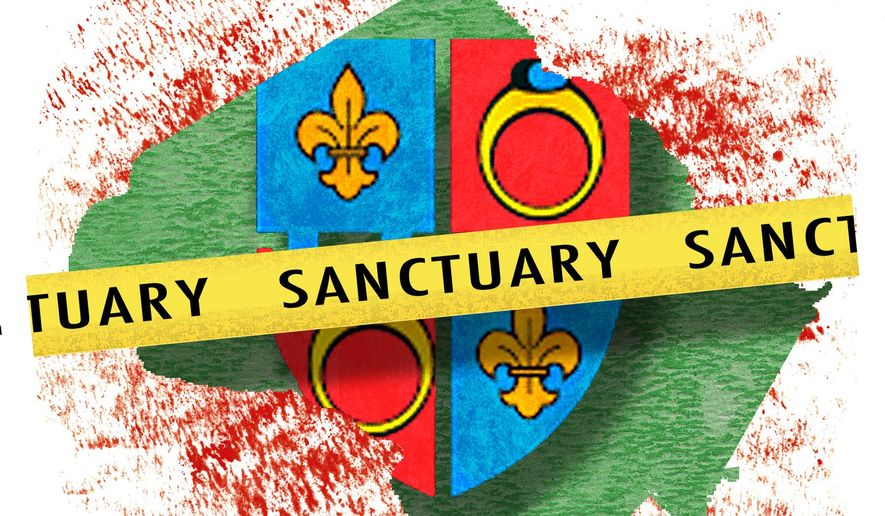 Illustration on the sanctuary policy of Montgomery County, MD by Alexander Hunter/The Washington Times